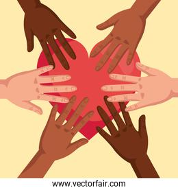 stop racism, with hands joined and heart, black lives matter concept