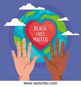 stop racism, with hands, heart and world planet, black lives matter concept