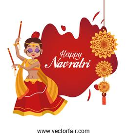 happy navratri celebration card lettering with woman dancing and flowers