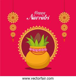 happy navratri celebration card with lettering and plant in pot