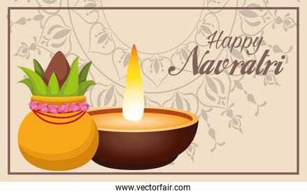 happy navratri celebration lettering with candle and plant in pot