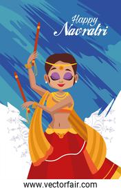 happy navratri celebration card with lettering and woman dancing