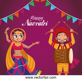 happy navratri celebration lettering with woman dancing and man playing drum