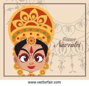 happy navratri celebration card lettering and beautiful goddess