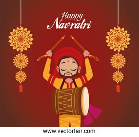 happy navratri celebration lettering with man playing drum