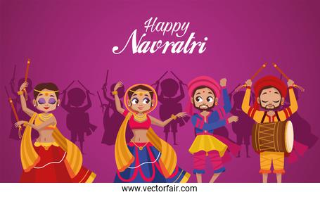 happy navratri celebration lettering with dancers and man playing drum