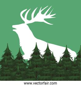 wild reindeer animal silhouette with forest scene