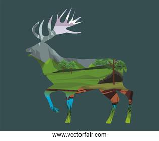 wild reindeer animal silhouette with landscape