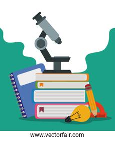 back to school, microscope pencil protractor and notebook elementary education