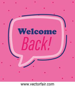 reopening, welcome back announce message pink background