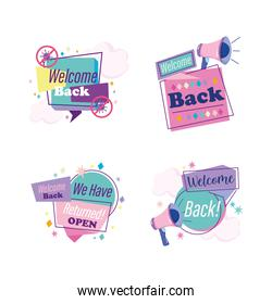 reopening, message advertising speech bubbles megaphone icons