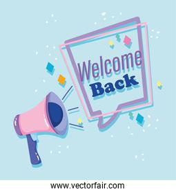 reopening, welcome back megaphone phrase speech bubble invitation