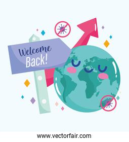 reopening, cartoon planet welcome back placard growth arrow