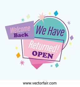 reopening, we have returned open, message welcome back typography for banner