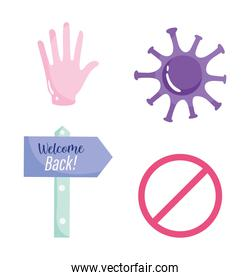 reopening, welcome back placard hand stop coronavirus covid 19 icons