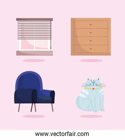home office chair window cabinet and cat mascot icons