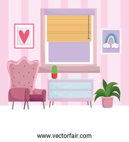 home workplace chair drawer potted plants picture in wall and window