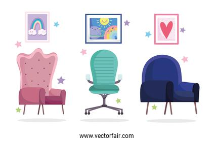 home office workplace collection chairs and pictures in wall
