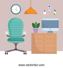 home office workplace comfortable chair computer drawers plant lamp and clock