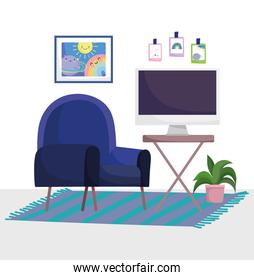 home office workplace chair carpet with computer table plant and picture in wall