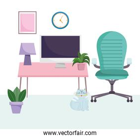 home office workplace armchair computer lamp plants and clock