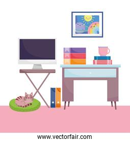 home office workplace computer screen table binder books coffee cup and cat
