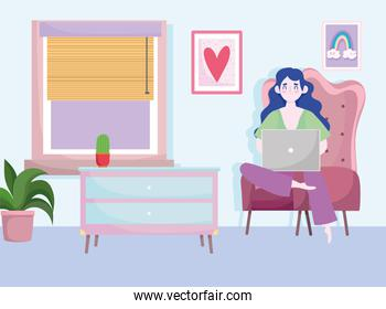 home office workspace, freelancer woman works behind a laptop, room chair table plants and window