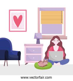 home office workspace, cartoon character working with laptop in room with chair lamp and cat