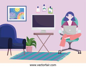home office workspace, girl sits in a armchair and works on a laptop
