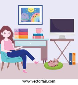 home office workspace, girl sitting on chiar with cat computer table books and coffee cup