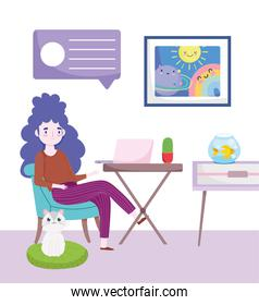 home office workspace, woman at the desktop with a laptop