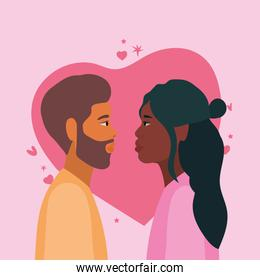 couple of woman and man in side view in front of heart vector design