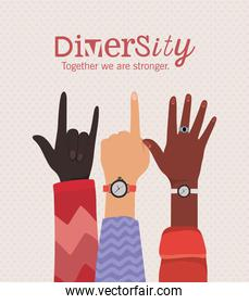 diversity together we are stronger with rock one and open hands vector design