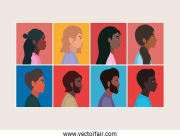 diversity of women and men cartoons in frames vector design