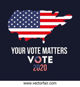 your vote matters 2020 with usa map vector design
