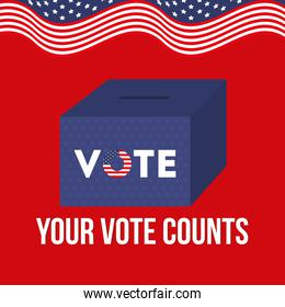 your vote counts with box and usa flag vector design