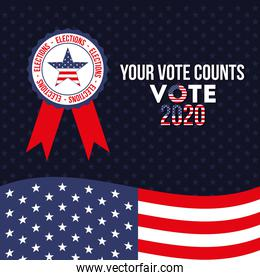 your vote counts 2020 with usa star in seal stamp vector design