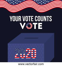 your vote counts 2020 with box and usa flag vector design