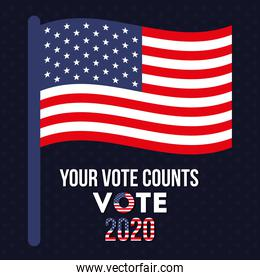 your vote counts 2020 with usa flag vector design