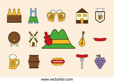 oktoberfest line and fill style set icons vector design