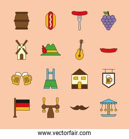 oktoberfest line and fill style collection of icons vector design