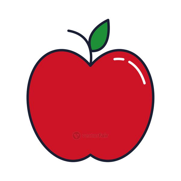 apple red fruit, line and fill style icon