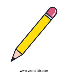 pencil with eraser, line and fill style icon