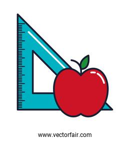 triangle ruler and apple, line and fill style icon