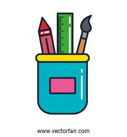 crayon with ruler and paint brush in jar, line and fill style icon