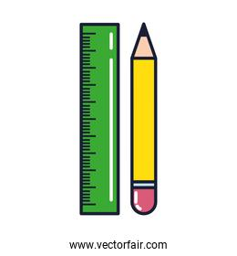 ruler with pencil, line and fill style icon