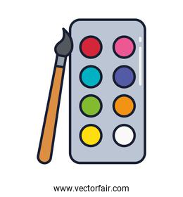 paint palette with paint brush, line and fill style icon