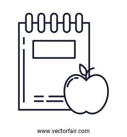 notebook with apple, line style icon