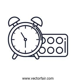 paint palette with alarm clock, line style icons