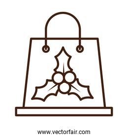 happy merry christmas, shopping bag with mistletoe berries celebration festive linear icon style